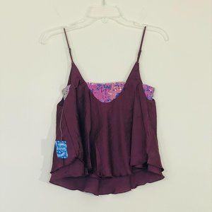Free People Turn It On Cami in Vetiver Bloom XS
